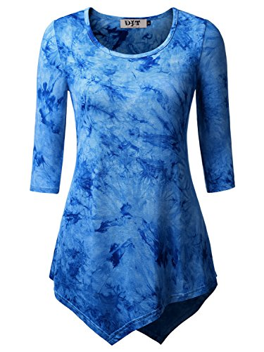 DJT Mujeres Camiseta con Dobladillo Asimetrico Azul Claro