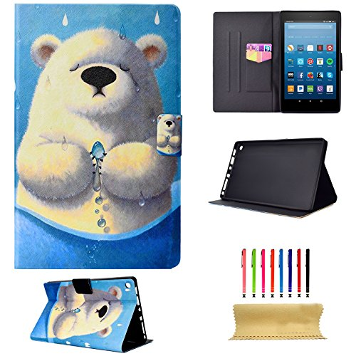 Coopts For ALL-New Amazon Fire HD 8 Tablet (7th / 6th Generation, 2017 and 2016 Release) Case Slim PU Leather Flip Folio Stand Cases Covers with Auto Wake/Sleep & Card Slots, White Bear by Coopts