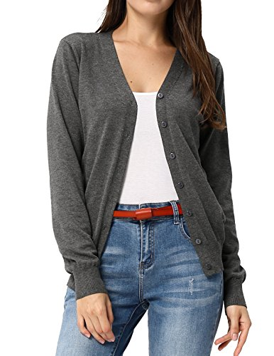 GRACE KARIN Women Button Down V-Neck Long Sleeve Soft Knit Cardigan Sweater (M,Heather Grey)