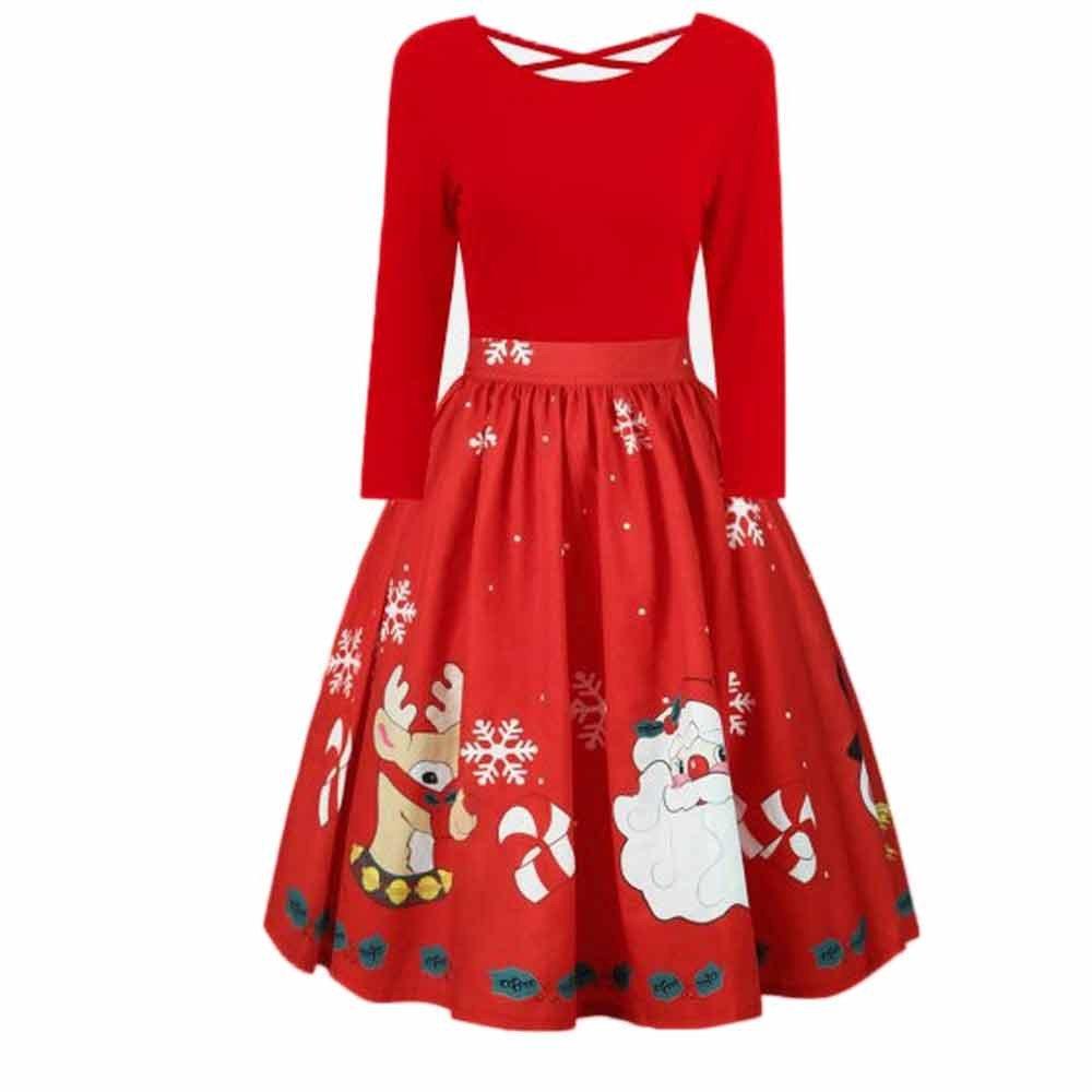 sunshineBoby Damen Vintage Rockabilly Kleid Faltenrock Mode Langarm Plus Größe Weihnachten Print Criss Cross Party Kleid Kleid Petticoat Faltenrock Rockabilly Kleid Cocktailkleider