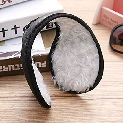FeiyanfyQ Men Cool Ear Muffs Winter Warm Faux Leather Plush Earwarmer Behind The Head Band