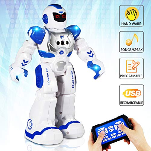 AILUKI Remote Control Robots for Kids - Walking Control RC Robot Infrared Control Toys with LED Light,Singing and Dancing,Moonwalking and Gesture Sensing ()