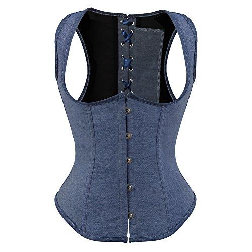 Frawirshau Women's Lace Up Boned Underbust Corset Bustier Vest Top Waist Cincher, Natural Waist:26
