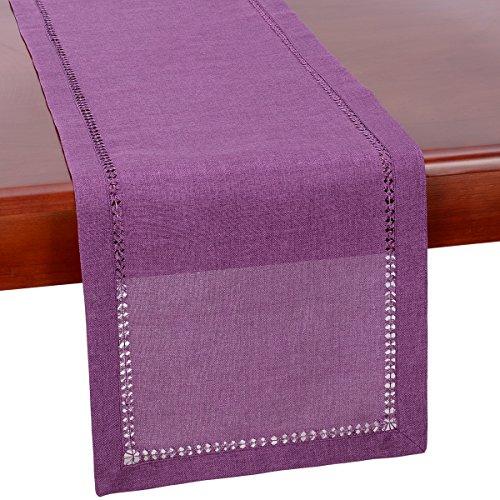 Grelucgo Hemstitch Purple Table Runner Or Dresser Scarf, Solid Color, Halloween, Weddings, Easter and Everyday Use (14 x 54 -