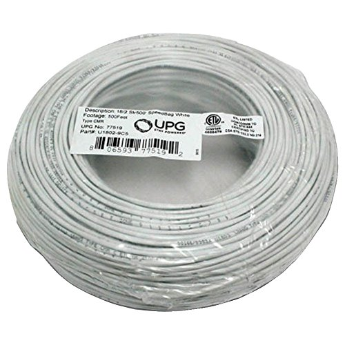 UPG 77519 18-Gauge, 2-Conductor Striped Control White Cable, 500ft Speedbag electronic consumer by Universal Power Group