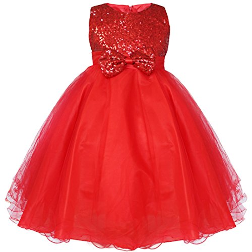 YiZYiF Kids Girls' Sequined Party Bridesmaid Flower Girl Dress Graduation Recital