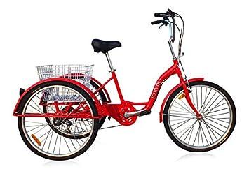 Jorvik Triciclo para adultos, ligero, de aluminio, con grandes ruedas de 26 pulgadas, varios colores disponibles, hombre mujer, rojo: Amazon.es: Deportes y ...