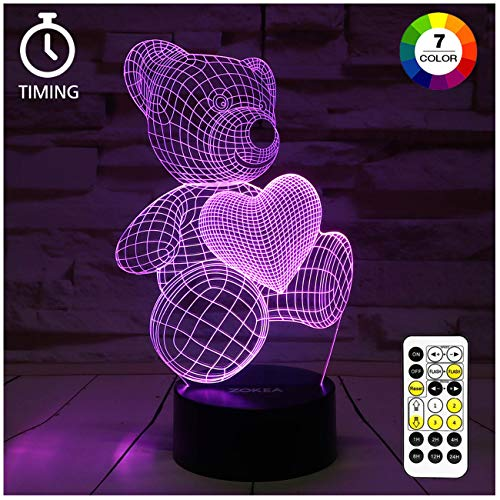 ZOKEA Night Light 3D lamp 7 Colors Changing Nightlight with Smart Touch & Remote Control 3D Night Light for Kids or as Gifts for Women Kids Girls Boys (Teddy Bear) (Birthday Gift For Girlfriend Of 1 Year)