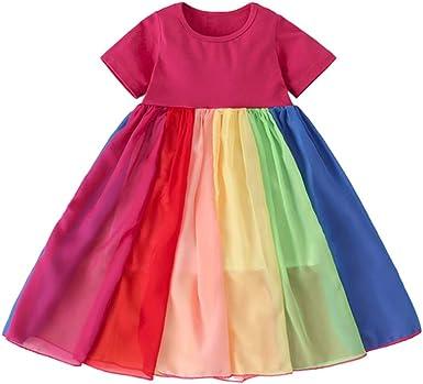 Toddler Girl Dresses Summer Girls Beach Rainbow Dress Girls Sleeveless Sling