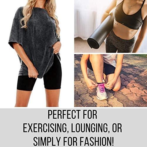Dynec - Pantalones cortos de ciclismo para mujer, 2 unidades, color negro y gris, para descansar, ejercicio, yoga, moda 7