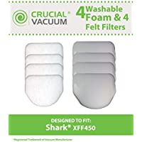 Replacements for Shark NV450 4 Foam & 4 Felt Filters Fits Rotator NV450, Compatible With Part # XFF450, by Think Crucial
