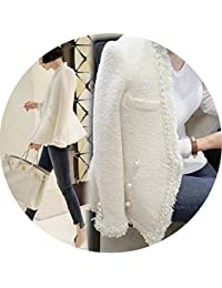 Pearls Tassels Woolen Jacket Coat Women Vintage Casaco Femme Warm Tweed Jacket Overcoat,White,L