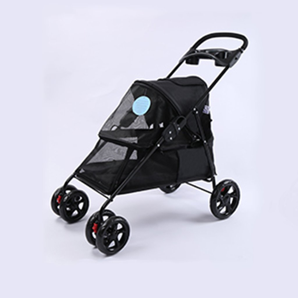 Black Four Wheel Pet Stroller For Cats Dogs Carriage Cart With Congreenible Compartment Walk For Jogger Jogging Travel. Cacoffay