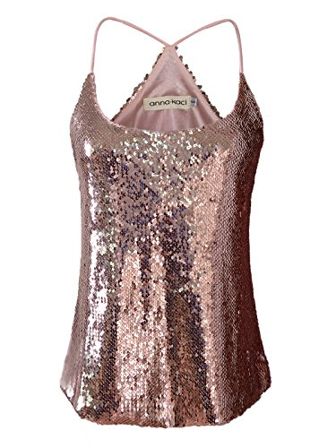 Anna-Kaci Womens All Over Shiny Sequin Spaghetti Strap Vest Tank Top, Rose Gold, ()