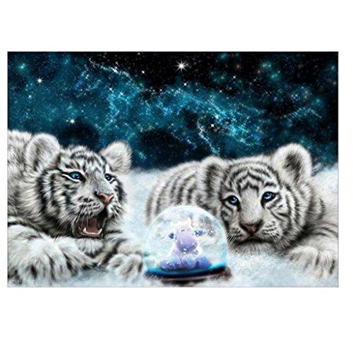 - FORESTIME 5D DIY Diamond Painting Kit, Tiger Pattern Rhinestone Diamond cross stitch craft kit Embroidery Rhinestone Cross Stitch Arts Craft (White)