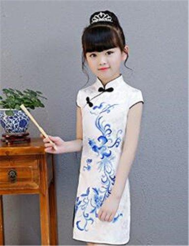 607af685f198d (グードコ) 女の子 チャイナドレス プリント ガールズ 中国風 ワンピース キッズ ドレス 半袖 ピアノ発表