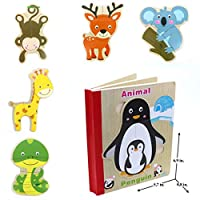 Wooden Books Puzzle - Animals | Wooden Books - 6 Collapsible Pages of Various Shapes and Colors |Developing of Fine Motor Skills, Memory Toys for Kids| Learning Shape, Color and Sorting| Birthday Gift