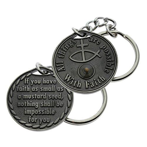 Mustard Seed Coin Key Chain Faith Pewter