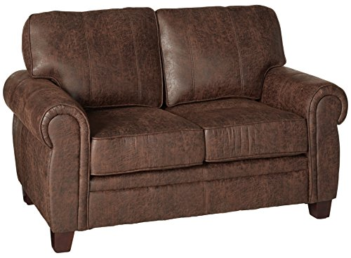 - Coaster Allingham Traditional Brown Love Seat with Microfiber Upholstery
