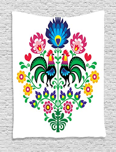 Ambesonne Gallos Decor Tapestry by, Polish Embroidery with Roosters Garden Happy Fashion Celebration Spring Slav Poland Image, Wall Hanging for Bedroom Living Room Dorm, 40 X 60 Inch, Blue Pink Green -