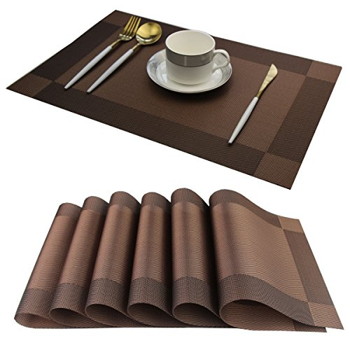 Bright Dream Placemats Washable Easy to Clean Table Mats for Kitchen Table Heat-resistand Woven Vinyl Pvc Placemat 12x18 inches Set of 6(Brown)