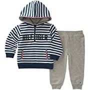 Tommy Hilfiger Baby Boys 2 Pieces Hoodie Pants Set, Gray/Navy, 3-6 Months