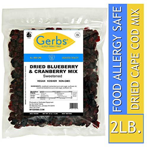 - Gerbs Dried Blueberry & Cranberry Fruit Mix, 2 LBS. - Top 14 Food Allergy Free & NON GMO - Unsulfured & Preservative Free - Cape Cod Trail Mix