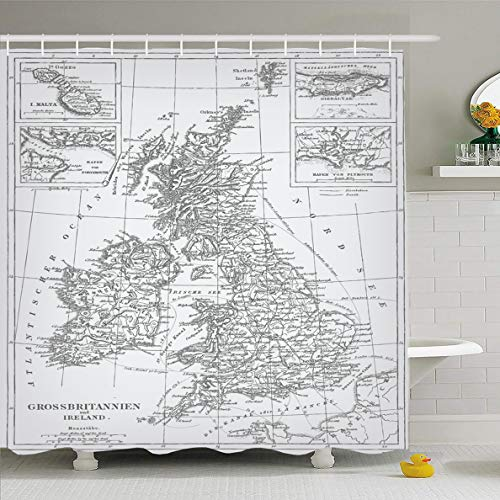 Ahawoso Shower Curtain 60x72 Inches Map Old England Engraving Complete Vintage Antique Britain London World Great Sea Design Aged Waterproof Polyester Fabric Bathroom Curtains Set with Hooks