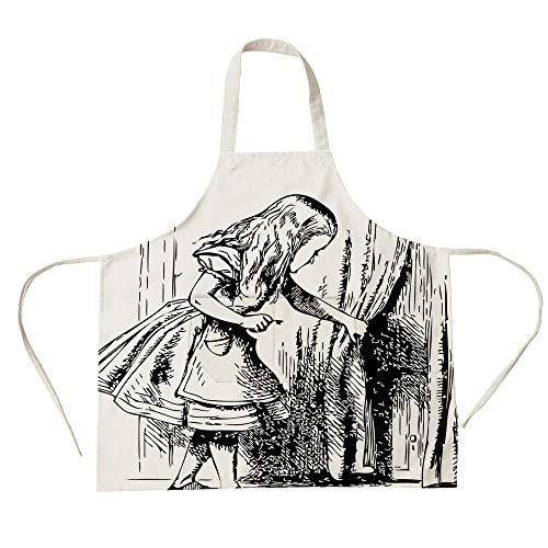 (3D Printed Cotton Linen Big Pocket Apron,Alice in Wonderland,Black and White Alice Looking Through Curtains Hidden Door Adventure Decorative,Black White,for Cooking Baking Gardening)