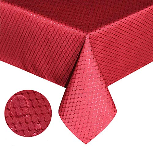 (Tektrum Heavy Duty 70 X 70 inch Square Elegant Waffle Weave Check Jacquard Tablecloth Table Cover -Waterproof/Stain Resistant/Wrinkle Free - Great for Dinner, Banquet, Parties, Wedding (Wine Red))