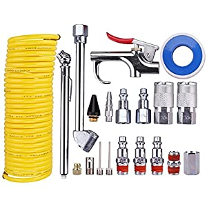 "WYNNsky Air Compressor Accessory Kit, 1/4"" NPT Air Tool Kit w/1/4""x25Ft Coil Nylon Hose /Blow Gun/ Tire Gauge - 20 Piece by WS"