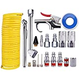 WYNNsky Air Compressor Accessory Kit, 1/4'' NPT Air Tool Kit w/1/4''x25Ft Coil Nylon Hose/Blow Gun/Tire Gauge - 20 Piece