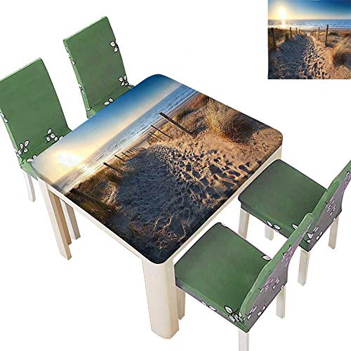 Printsonne Polyester Tablecloth Walkway to Beach in North Sea Zandvoort Aan Zee North Holland Netherlands Easy Care Spillproof 50 x 50 Inch (Elastic Edge) -