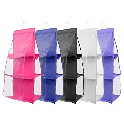 6 Slot Closet Hanger Storage Bag Organizer Wardrobe Rack For Handbag Purse Pouch