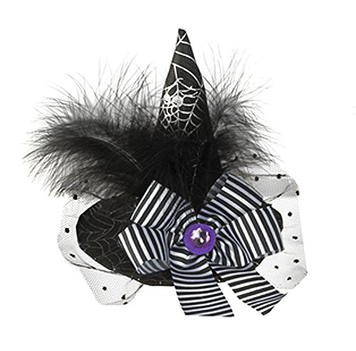 Black and White Spiderweb Pattern Witch Hat Hairclip - By Ganz