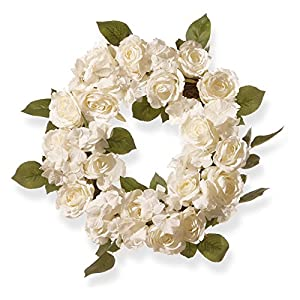 National Tree Company 16 in. White Rose Wreath 69