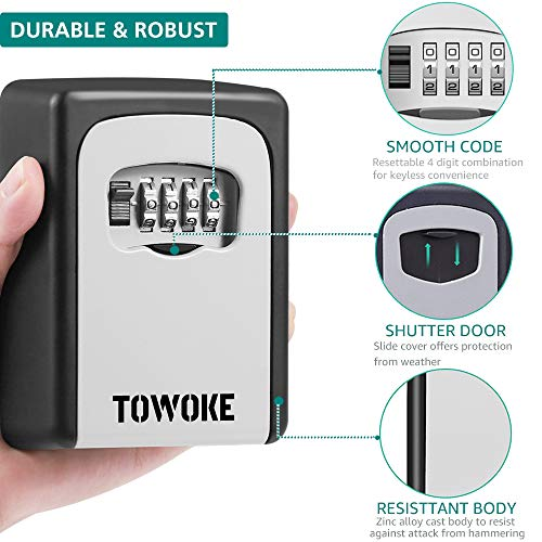 Key Lock Box Wall Mount - TOWOKE Waterproof Combination Key Safe Box for Outside, Zinc Alloy Key Storage Box with Resettable Code for House Spare Keys, 5 Key Capacity - Mounting Kit Included