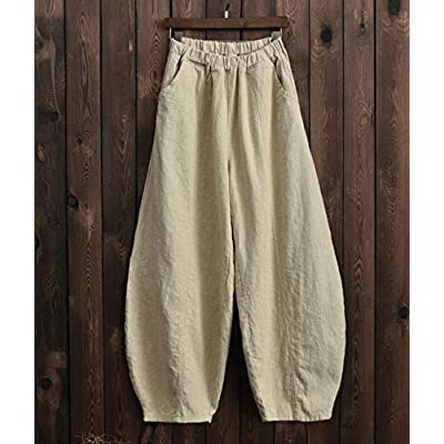IXIMO Women's Casual Cotton Linen Baggy Pants with Elastic Waist Relax Fit Lantern Trousers at Women's Clothing store