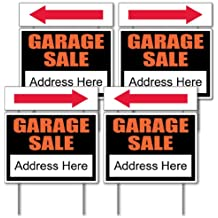 "VictoryStore Garage Sale Sign Kit - 4 18"" x 24"" Signs W/Arrows and Sign Stakes"