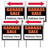 VictoryStore Garage Sale Sign Kit - 4 18'' x 24'' Signs W/Arrows and Sign Stakes