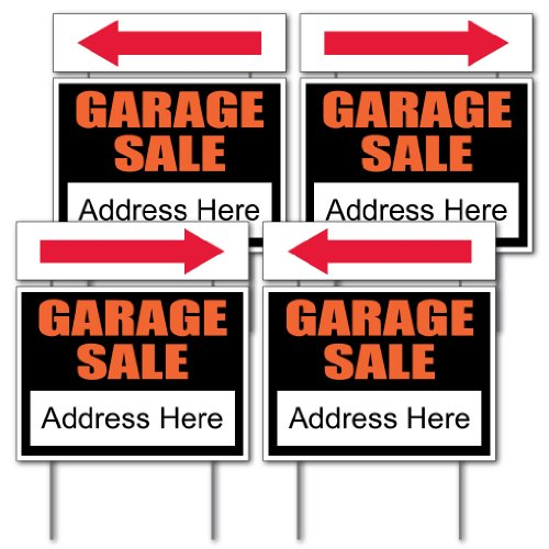 VictoryStore Garage Sale Sign Kit - 4 18'' x 24'' Signs W/Arrows and Sign Stakes by VictoryStore