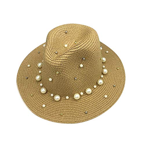 Summer England Pearl Flat Lace Wing Cap Sunshade Hat Sun Hat Ms.Beach Hat,Brown,One ()