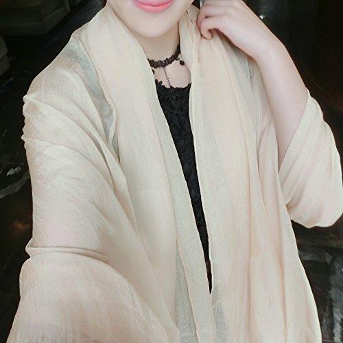 BEEST-Pure chiffon Bufanda Bufanda con una bufanda, un chal, acondicionador de aire, un chal, toalla, protector solar,Mei Hong, 230*145 Khaki