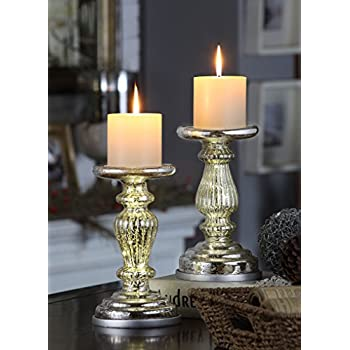 "Mercury Glass Table Decor Accents, XY Decor Set of 2 8.5"" Lit Pillar Candle Holder with Timer for Home and Church Decoration - Silver"