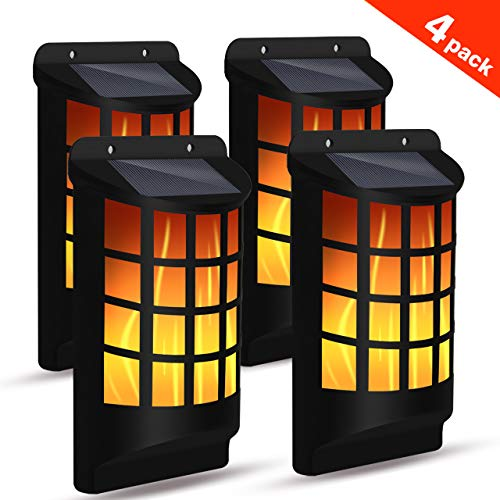 SolPower Solar Flame Lights Outdoor, Waterproof Flickering Flame Wall Lights with Dark Sensor Auto On/Off 66 LED Solar Powered Night Lights Lattice Design for Garden Pathway Patio Deck Yard (4 Pack)
