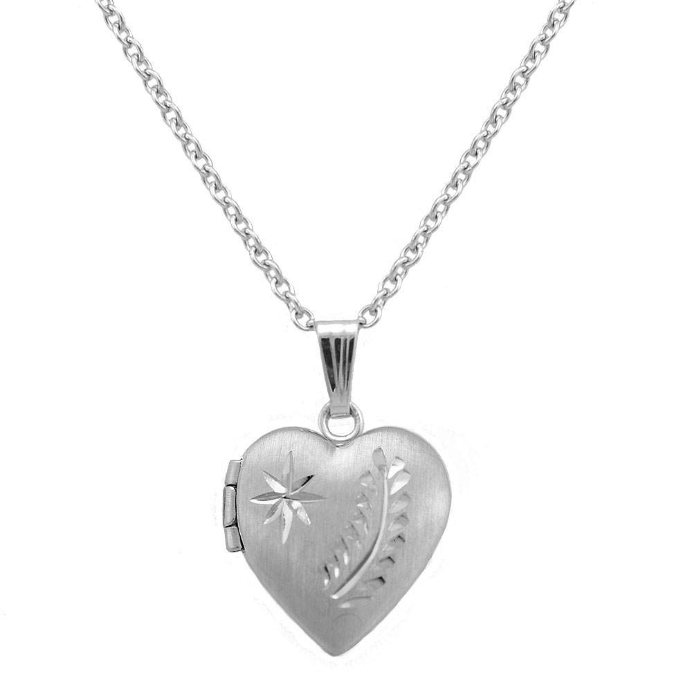 Girls 15 In Sterling Silver Engraved Star and Fern Leaf Heart Locket Necklace