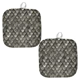 Halloween Steel Scale Armor All Over Pot Holder (Set of 2) Multi Standard One Size