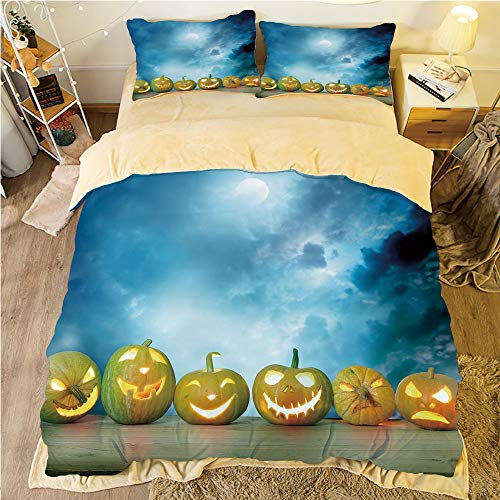 Flannel Duvet Cover Set 4-Piece Suit Warm Bedding Sets Quilt Cover for bed width 5ft Pattern Customized bedding for boys and young children,Halloween,Spooky Halloween Pumpkins on Wood Table Dramatic N -
