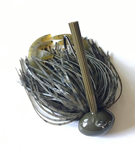 Screwy Lewy Lures Football Bass Jigs with Craw Trailer (Green Pumpkin, 3/8 - Jigs Lures And