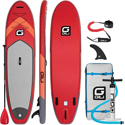 "GILI 10'6 Inflatable Stand Up Paddle Board Package (10'6"" Long 31"" Wide 6"" Thick): Includes Paddle, Backpack, SUP Coiled Leash & Pump (Red)"